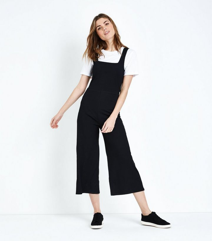 3426a15aa0b Black Ribbed Square Neck Culotte Jumpsuit