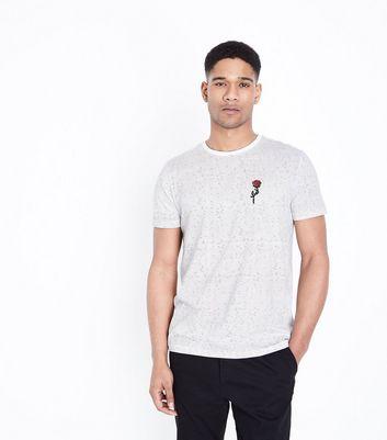 de bordada raya Camiseta blanca de fina Rose la ES7Zgq