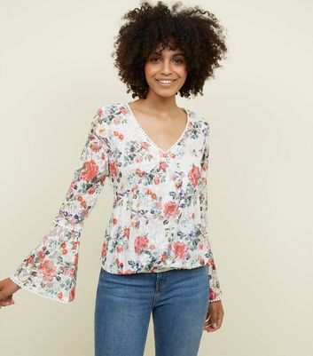 Blue Vanilla White Floral Lace Top New Look