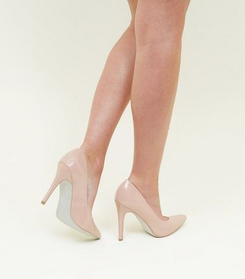 Wide Fit Nude Patent Glitter Sole Court