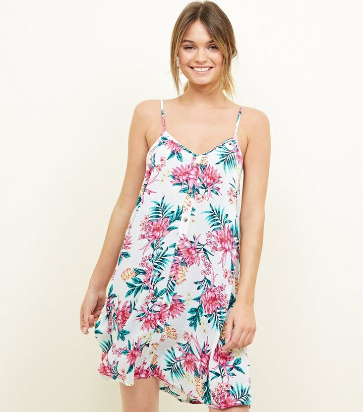 8452a29d97 White Tropical Floral Swing Beach Dress | New Look