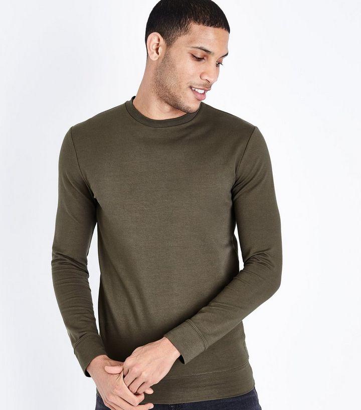 07a2f96d1 Khaki Muscle Fit Crew Neck Sweatshirt | New Look