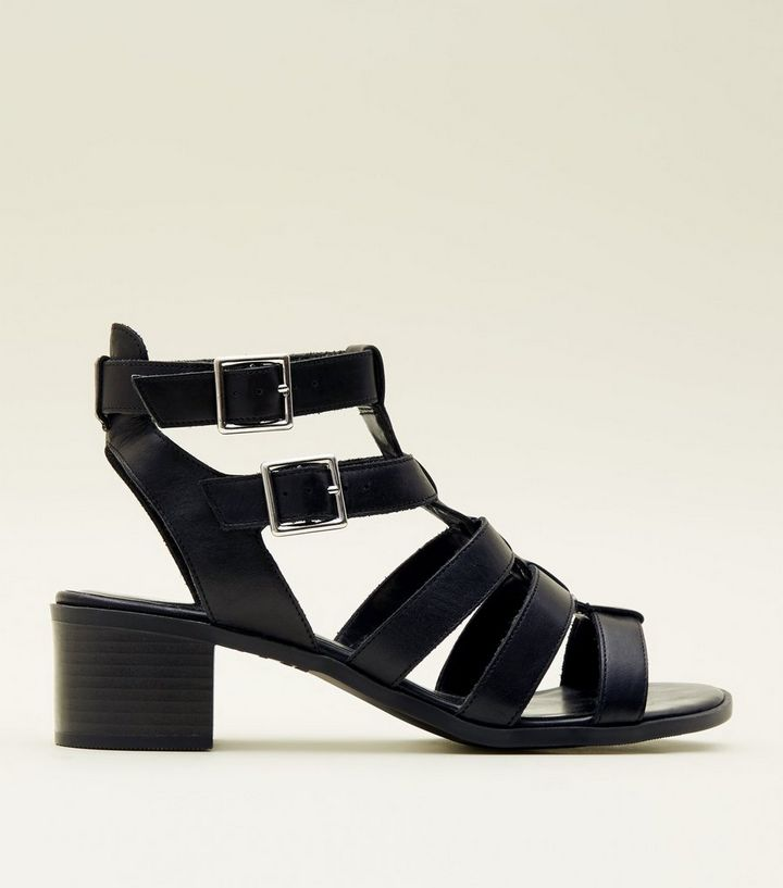 bd54cd80b6d Black Leather Low Block Heel Gladiator Sandals