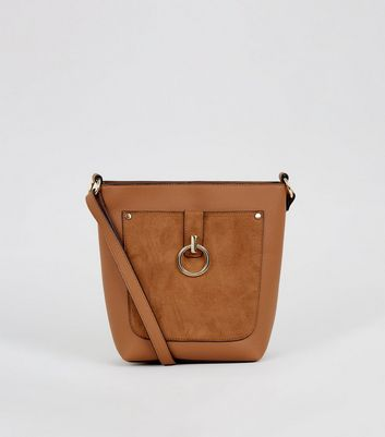 Tan Suedette Ring Front Bucket Bag