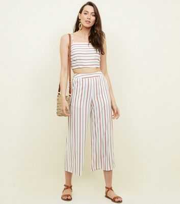 Red Stripe High Neck Crop Top