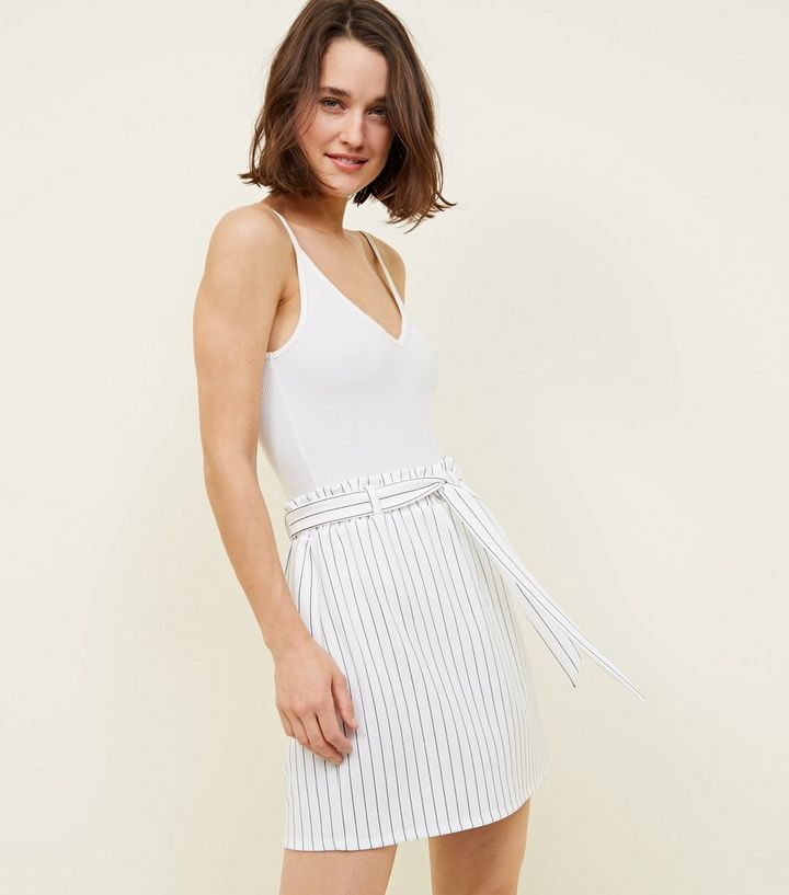 4a4407a444 Tall White Stripe Paperbag Waist Mini Skirt | New Look