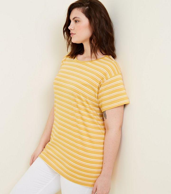 0e77c1b5b6234 Curves Mustard Stripe Oversized T-Shirt