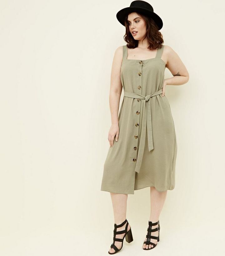 861a7bdd3eba Curves Khaki Button Front Belted Midi Dress | New Look