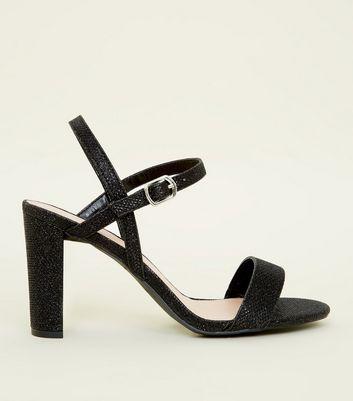 black glitter block heel shoes