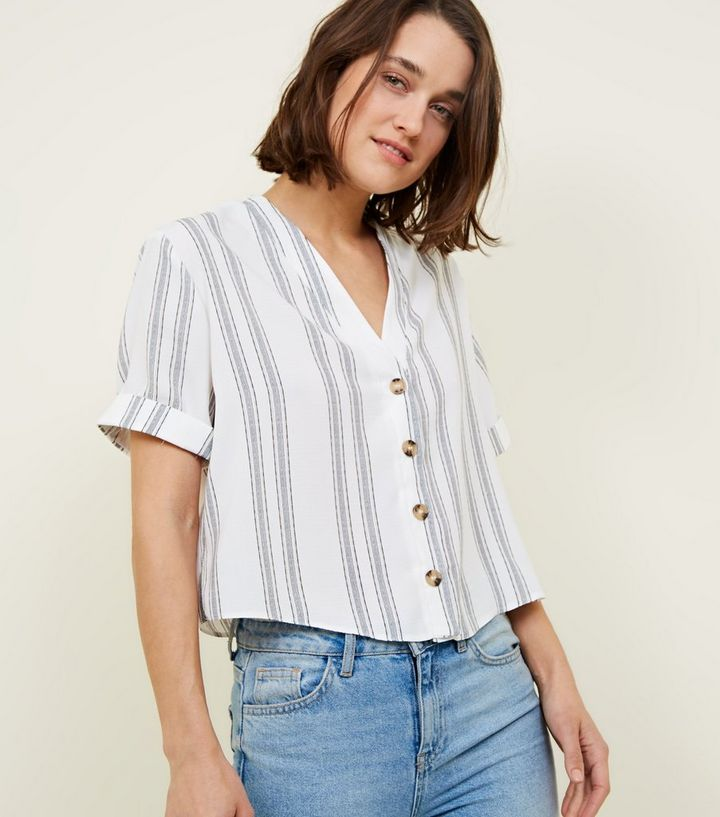 1bd81c99f6 White Stripe Button Front Shirt   New Look