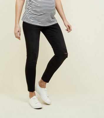 Maternity Black Rinse Wash Over Bump Skinny Jeans New Look