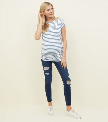Maternity Navy Ripped Over Bump Skinny Jeans