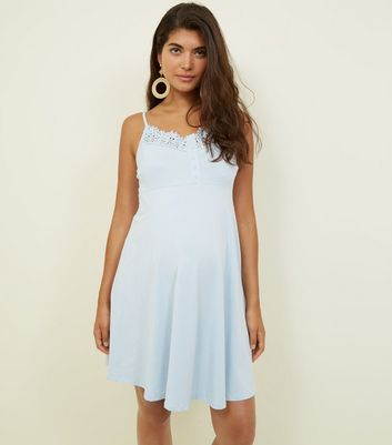 Maternity Pale Blue Crochet Trim Skater Dress