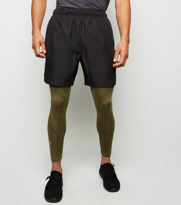 Khaki Sports Stretch Running Tights