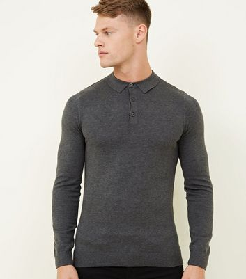 Dark Grey Long Sleeve Muscle Fit Knit Polo Shirt