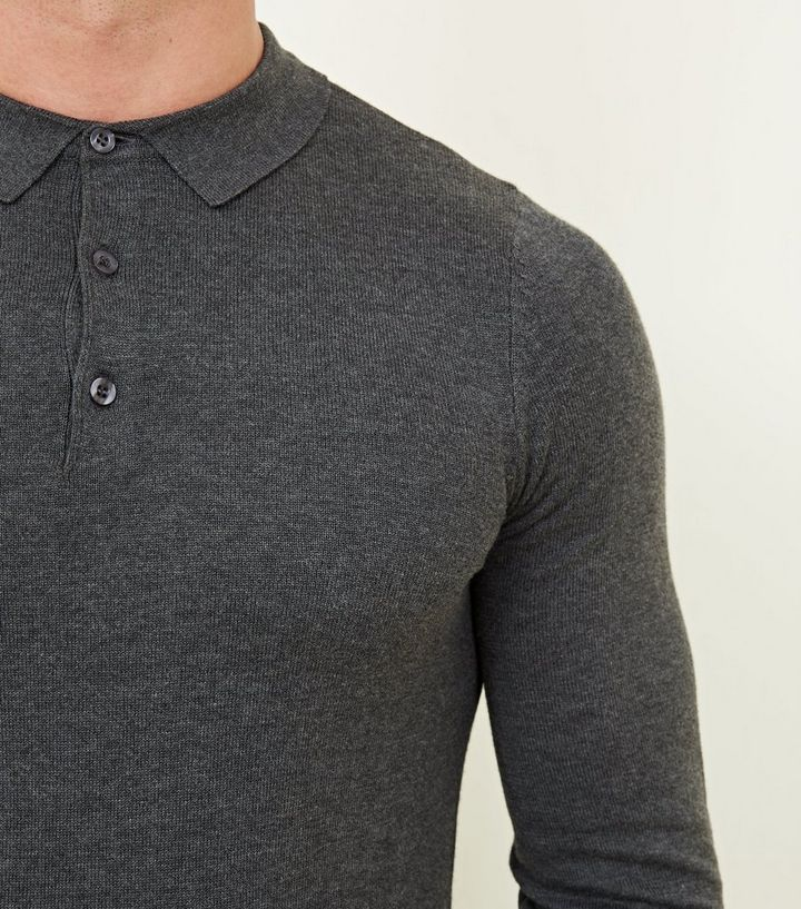 afa24864 ... Mens Knitwear · Dark Grey Long Sleeve Muscle Fit Knit Polo Shirt. ×. ×.  ×. Shop the look