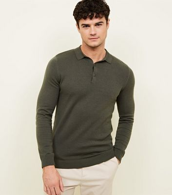 Khaki Long Sleeve Muscle Fit Knit Polo Shirt