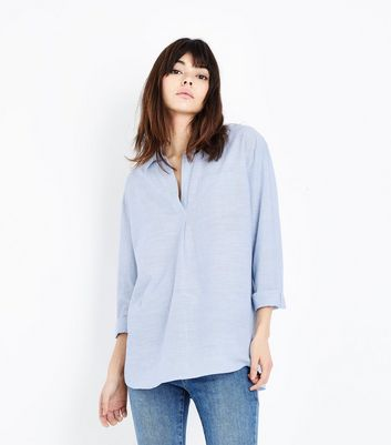 Blue Slub Cotton Overhead Shirt