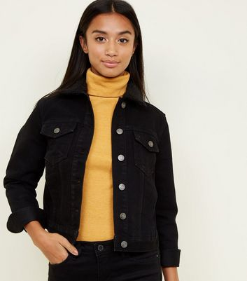 Petite Black Borg Collar Denim Jacket