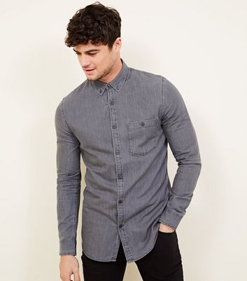 Grey Washed Denim Shirt