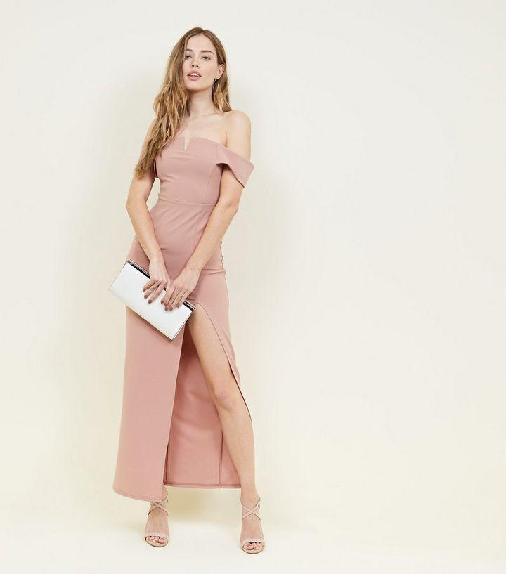 f7a3ab3b051 Pale Pink Bardot Neck Split Side Maxi Dress