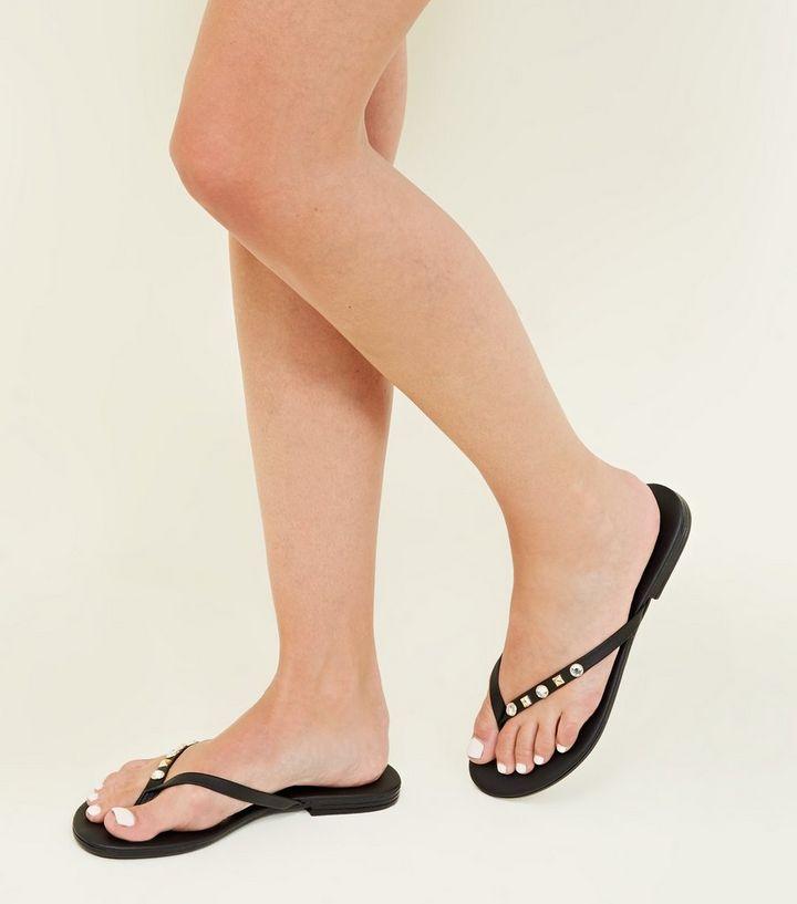 52cb942ea98 ... Black Gem and Stud Strap Flip Flops. ×. ×. ×. Shop the look