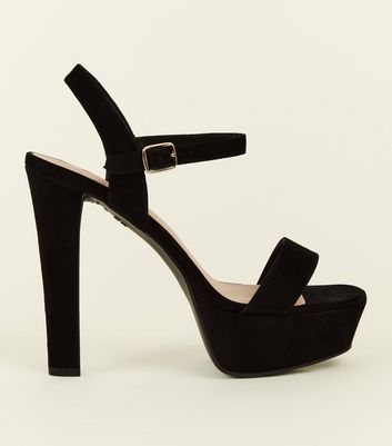 Wide Fit Black Suedette Block Heel Platform Sandals