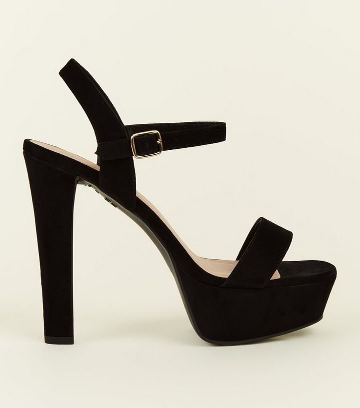 082bbdbac1 Wide Fit Black Suedette Block Heel Platform Sandals | New Look