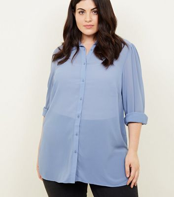 Curves Blue Crepe Longline Shirt