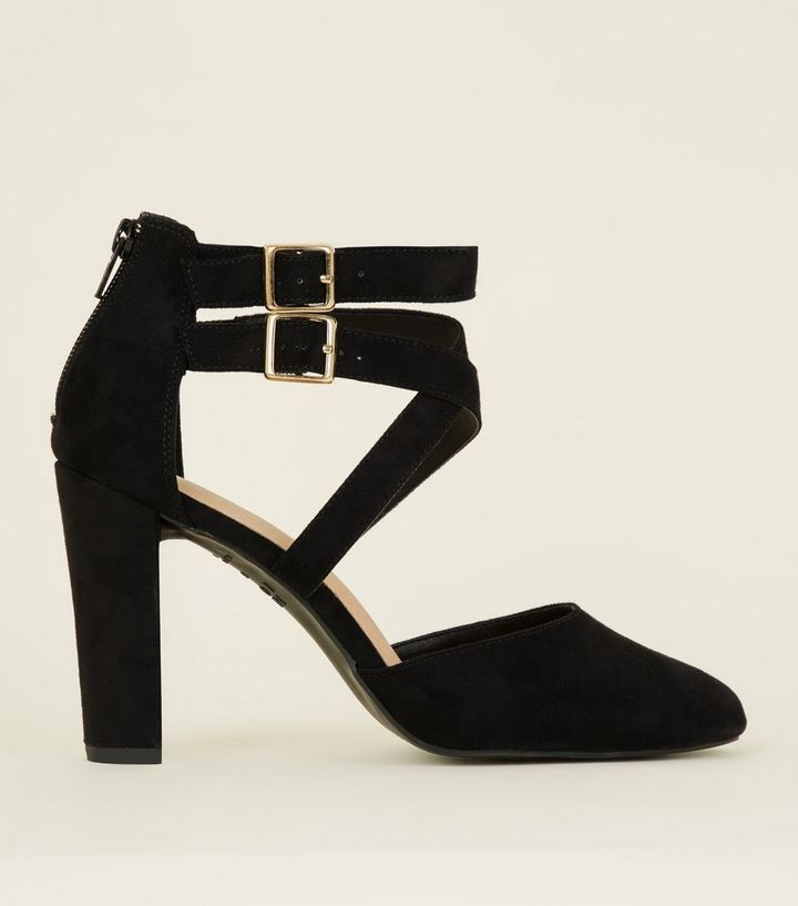 fadf9474a7 Wide Fit Black Comfort Flex Suedette Strappy Courts | New Look