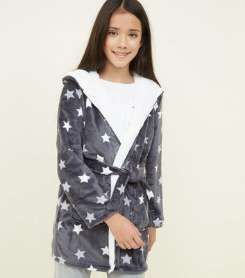 Girls Dark Grey Star Print Fluffy Hooded Robe