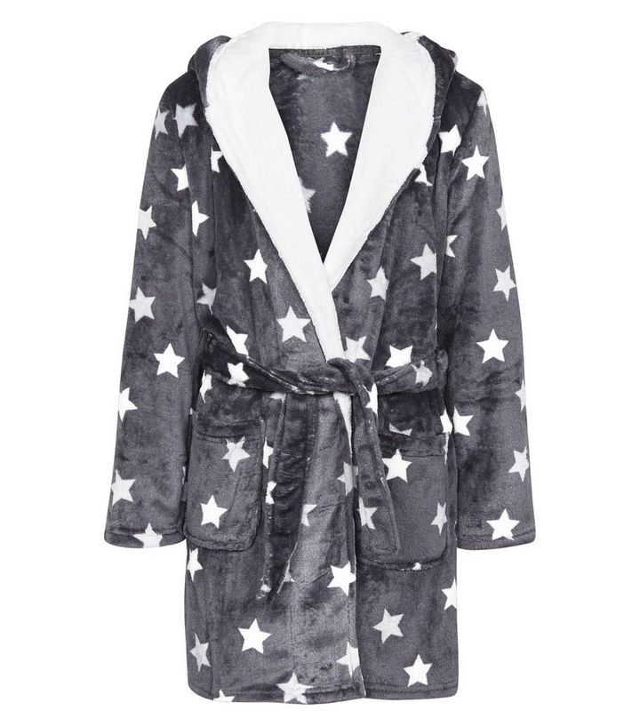 fede226889 Girls Dark Grey Star Print Fluffy Hooded Robe Add to Saved Items Remove  from Saved Items
