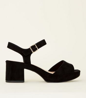 Wide Fit Black Suedette Platform Peep Toe Sandals