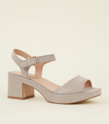 Wide Fit Grey Suedette Platform Peep Toe Heels
