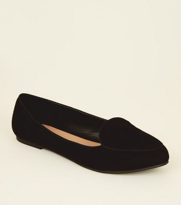 Wide Fit Black Suedette Square Toe Loafers
