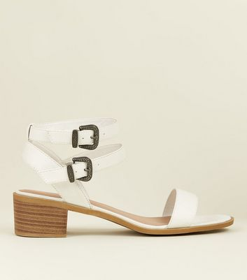 Wide Fit White Leather-Look Western Buckle Sandals