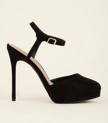 Black Suedette Platform Stiletto Heels
