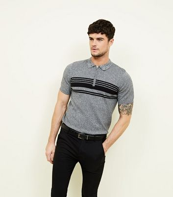Light Grey Zip Stripe Block Knitted Polo Shirt