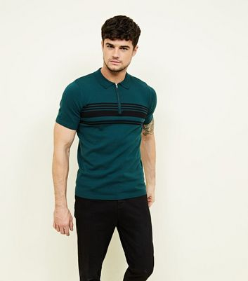 Teal Zip Front Stripe Block Knitted Polo Shirt