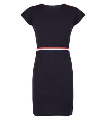 QED Black Waist Stripe Bodycon Dress New Look
