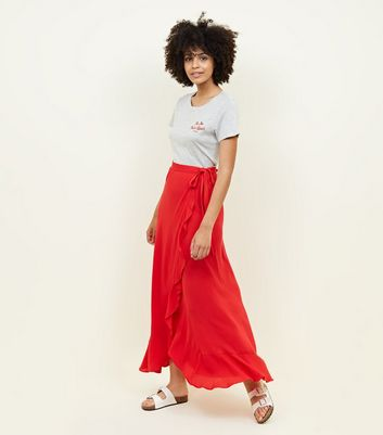Red Cheesecloth Maxi Wrap Skirt