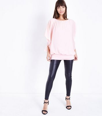 QED Bright Pink Angel Sleeve Top New Look