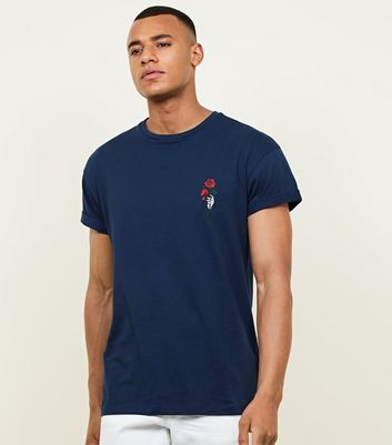 Navy Hand Rose Embroidered T-Shirt