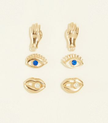 3 Pack Gold Face Stud Earrings New Look
