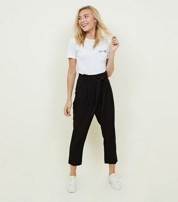 Look New Noir Pantalon Plissée À Taille Petite xXp6wqnYY