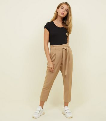 Petite Camel Paperbag Waist Tapered Trousers