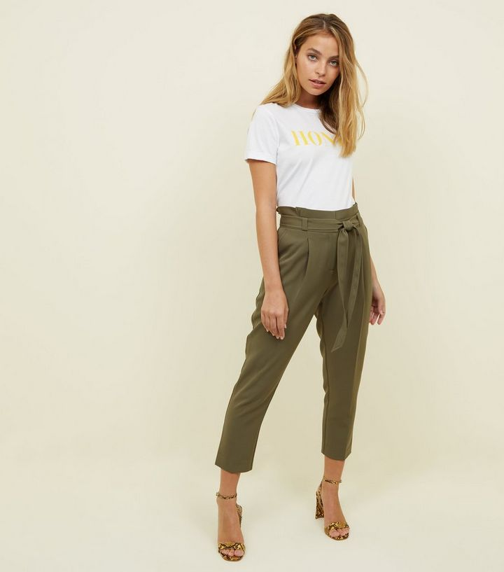 da124673a16a5 Petite Khaki Paperbag Waist Tapered Trousers | New Look