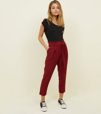 Petite Burgundy Belted Paperbag Waist Trousers