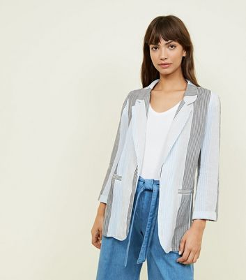 Blue Stripe Linen-Look Blazer