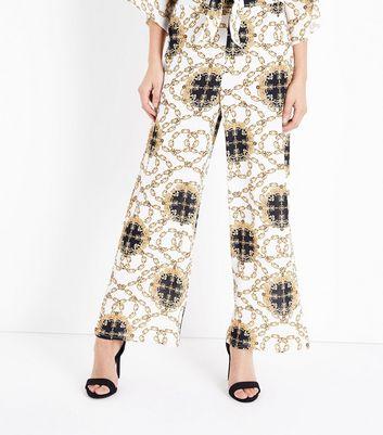 New Look Cream Chain Print Wide Leg Trousers Buy Cheap Amazon Enjoy Cheap Online Choice 1arcW8n6W